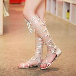 Ups Ties Canada - flat cross lace up very sexy long low heel cross tied sandals girl women lady shoe 085