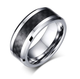 tungsten carbide fiber ring Canada - Mix Sizes Wholesales Black Carbon Fiber Tungsten Carbide Ring 8mm for Men