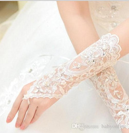 Cheap long white gloves online shopping - 2017 Arabic Exquisite Crystals Long Bridal Gloves Lace Beading Appliques Cheap In Stock Fast Shipping Embroidery Wedding Gloves