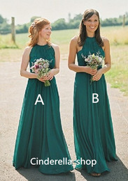 Robes De Licorne Vert Foncé Pas Cher-Country Dark Green Robes demoiselle d'honneur en boheme 2017 Halter A Line Floor Length Boho Style mixte Long Wedding Guest Dress Custom Cheap Sale