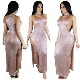 Barato Barato Sexy Night Club Vestidos-Sexy Side Split Long Cutout Sides Knitted Club Night Dress 2017 barato sem mangas Illusion Scoop Neck Champagne Party Dress