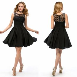 Barato Joelho Elegante Faixas-Party Cheap Little Black Prom Dresses Empire Joelho de comprimento plissados ​​Chiffon Simples Venda quente Custom Made A-Line Cocktail elegante Short Prom Gowns