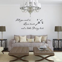 Cartoon Stick Wall NZ - 4142 All You Need is Love Trust Quote Wall Sticker Removable Magic Stick Wall Sticker Fairy Quotes Sayings Removable Vinyl Wall Decals