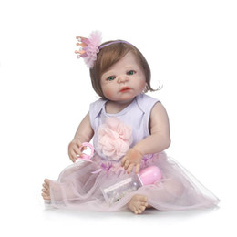 Discount lifelike child dolls - Wholesale- 56cm Full Silicone Baby Doll Fiber Hair Baby Lifelike Girl Doll Bebe Reborn Toy Kids Fashion Toy Children New
