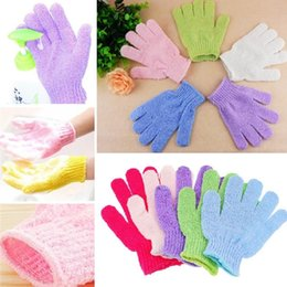 nylon bath glove Canada - New DHL Exfoliating Bath Glove Five fingers Bath Gloves bathroom accessories nylon wash towel Scrubbers Bathing supplies bath products 4119