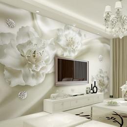 Luxury Wall Stickers Canada - Custom Photo Wallpaper 3D Mural Wall Stickers Aesthetic Light Luxury Flowers European Style 3d TV Backdrop papel de parede