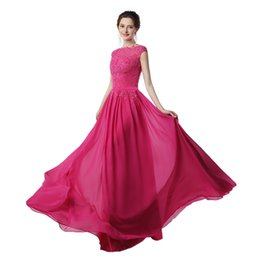 Robes De Soirée Sexy Pas Cher-Dress Long Party Vestido Festa Longo Noite Casamento 2017 Hot Pink Robe de bal en mousseline de soie Robes de soirée pas cher Made in China