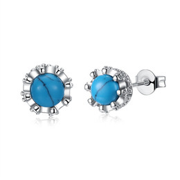 Blue Copper Turquoise Earrings Canada - High Quality Women's Platinum Plated Brass Stud Blue Kallaite Stone Turquoise Earrings For Gift from China Free Shipping
