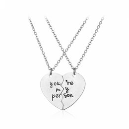 $enCountryForm.capitalKeyWord NZ - You Are My Person Broke Heart Necklace Fashion Silver Heart Pendants for Women Lovers Jewery valentine's day Gift 162227