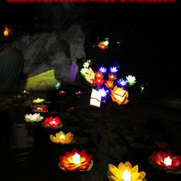 $enCountryForm.capitalKeyWord UK - Beautiful Floating Water Blessing Silk Lotus Candle Lamp White Red Pink Blue Purple Wishing Lantern for Wedding Event Party Supplies