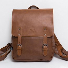 $enCountryForm.capitalKeyWord Canada - Wholesale- High Quality England Vintage Style PU Leather Men Backpacks For College Preppy Style School Backpacks for 14 inch laptop bags