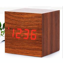 Square Desk Clock Canada - Sound Control Wooden LED Alarm Digital Desk Clock Square Wooden Clock Mini LED Digital Desktop Puzzle Alarm Clock Electronic Clocks