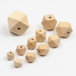 natural wood bead spacer Canada - Wholesale Wood Beads 10mm 12mm 14mm 16mm 20mm Natural Unfinished Geometric Wood Spacer Beads Jewelry DIY Wooden Necklace Accessories