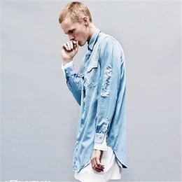 Barato Camisa Lavada Atacado-Venda por atacado - 2017 High Streeet Ripped Denim Camisas Men Jeans Nova moda Água lavada Azul Distressed Loose Baggy Shirts S-XL