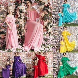 d16558ce77 Family Matching Outfits Summer new Style Family Chiffon long Dress Boat  Neck Mother Daughter Long Dress mom and daughter dress