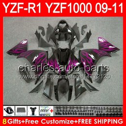 $enCountryForm.capitalKeyWord Canada - 8gifts Body For YAMAHA YZFR1 09 10 11 YZF-R1 09-11 rose flames 95NO64 YZF 1000 YZF R 1 YZF1000 YZF R1 2009 2010 2011 Fairing glossy black