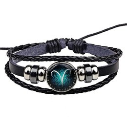 Wholesale Twelve Constellation Bracelet Hand Woven Leather Retro Men And Women Braided Leather Glass Cabochon Bracelets