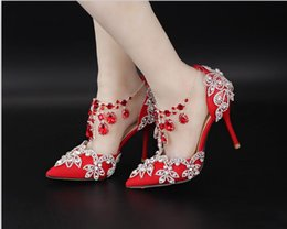 Ankle Chain Pumps Canada - Red Pink White Pointed Toes Sandals with Crystal Ankle Chains Bridal Bridesmaid Wedding Shoes 2017 Prom Evening Night Club Party 9cm Heels