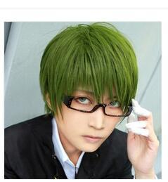 Barato Detalhe Cosplay Anime-peruca hair queen cosplay Detalhes sobre Kuroko no Basket Midorima Shintaro Cosplay Wig Green Short Anime Party Wigs