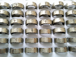 steel prayer ring Canada - Brand New 50PCs English the Serenity Prayer Silver Stainless Steel Men's Jewelry Etching Rings Wholesale Mixed Lots