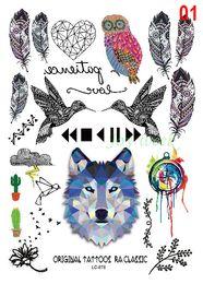 $enCountryForm.capitalKeyWord NZ - Wholesale- Waterproof Temporary Tattoo Sticker wolf owl bird feather dream catcher Water Transfer Flash tattoo Fake Tattoo for men girl kid
