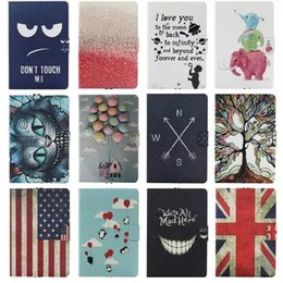 Wholesale Fashion Cute Cartoon USA UK flag Card Slot leather stand holder Cover Case For Google Nexus tablet inch with screen film