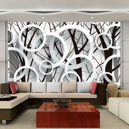 large tv mural wallpaper 3d NZ - Large Mural Custom Bedroom Living Room TV Background Circle Ring Fashion Simple Wallpaper Fabric Wall Paper 3D Stereoscopic