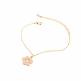 delicate fashion jewelry UK - Fashion Cat Dog Paw Animal Bracelet Women Pendant Cute Delicate Statement Bracelets & Bangles Chain with Pendant Jewelry