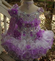 $enCountryForm.capitalKeyWord Australia - One shoulder beaded purple white necklace hand made flower cupcake toddler little girls pageant dresses flower girls for weddings glitz