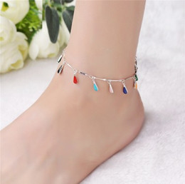 $enCountryForm.capitalKeyWord NZ - Handmade Anklet Layer Love Infinite Beach Foot Chain Adjustable S925 Silver Girls & Ladies Waterdrop Ankle Bracelets