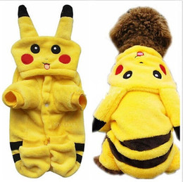 Wholesale 10PCS Fashion Cute Cartoon Pet Clothes Dog Pikachu Yellow Hoodies Cat Coat Puppy Apparel Costume