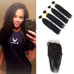 kinky curly bundles closure NZ - Lace Closure With Bundles Virgin Brazilian Hair Wefts 4pcs Kinky Curly Hair Weaves Natural Color 7A Unprocessed Kinky Curly With Closure