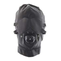 Gag Hood Bdsm Pas Cher-Bondage Sex Toys Headgear With Mouth Ball Gag BDSM Capuche Sexe Erotique en Cuir pour Hommes Jeux Adultes Sex SM Mask For