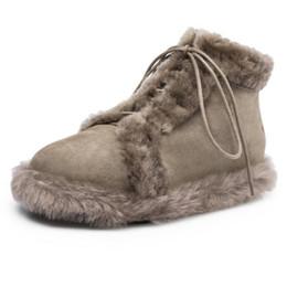 $enCountryForm.capitalKeyWord UK - Women Real Leather Lace Up Boots Round Toe Flock Warm Plush Winter Booties Comfort Women Leisure Footwear Size 34-39