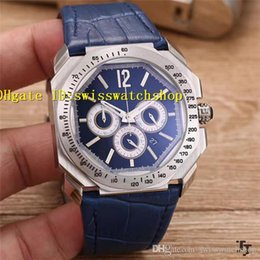 Brushed Blue Steel Canada - Luxury Brand 316L Brushed Stainless Steel Octo Solotempo Quartz Chronograph Blue Dial Men's Watch 41mm Blue Leather Strap Man Watches