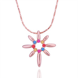Best Wedding Pendant Australia - Best gift Rose Gold red crystal jewelry Necklace for women DGN505,plant 18K gold gem Pendant Necklaces with chains