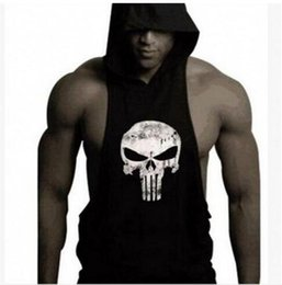 Barato Roupas Masculinas Masculinas-Speed ​​Sell Pass 2017 Hot Style Hot Dig Bodybuilding Fitness Shawl com capuz Voltar Tothe Emotion Man Skull Cap Vest TOP1790ZZ