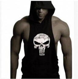 Barato Roupas Masculinas Masculinas-Speed ​​Sell Pass 2017 NOVO Estilo Hot Dig Bodybuilding Fitness Shawl com capuz Voltar Tothe Emotion Man Skull Cap Vest TOP1790