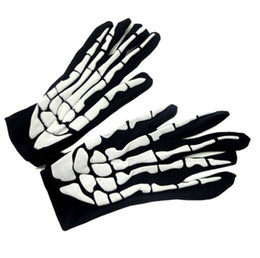 Barato Vestidos Pretos Do Evento-Halloween Black White Skeleton Gloves Ghost Clothes Fitting Ghost Bones Fancy Dress Accessory Home Event Festive Party Supplies TOP1958