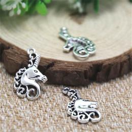 Silver unicorn charm online shopping - 20pcs Unicorn Charms Antique Tibetan silver Unicorn Charms pendants x23mm