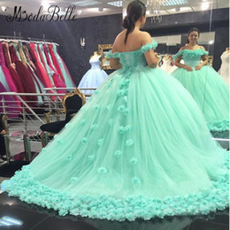 Wholesale 2017 Stunning Mint Green Wedding Dresses With Flowers Arab Wedding Ball Gowns Boat Neck Lace Up Tulle Bridal Dress Vestidos De Novia