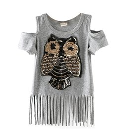 Wholesale Sequins Owl Kids girls T shirt Short sleeve children t shirts for girl top clothes clothing Summer Spring