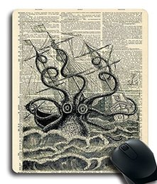 laptop rubbers UK - Customized Mousepad Giant Squid Sea Monster Pirate Ship Nautical Art Print Desktop Laptop Gaming mouse Pad Rubber Rectangle Mouse Mat