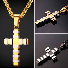 Link two online shopping - U7 New Fashion Style Cross Necklace Pendant Trendy Two Tone Stainless Steel Gold Plated Christian Jewelry for Women Men Perfect Gift GP2438