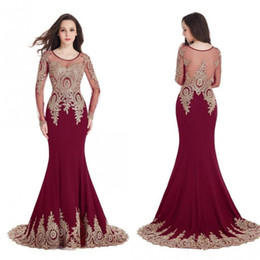 Cheap mermaid Crystal evening dress online shopping - Real Image Cheap In Stock Burgundy Mermaid Evening Dresses Long Sleeves Sheer Scoop Prom Dresses Gold Lace Appliques Robe de Soiree CPS404