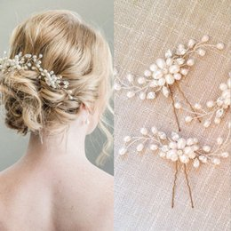 Cascos De Moda Al Por Mayor Baratos-2017 Venta al por mayor 4 unids Lot Accesorios de Boda de Moda Faux Pearl Hair Pieces U Pines Nupcial Hair Headpieces Hairbands Para Nupcial