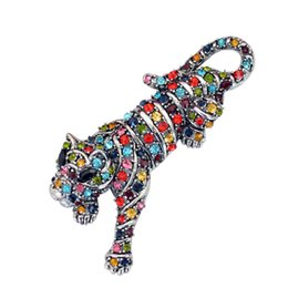 vintage costume jewelry brooches pins UK - Multi Colors Crystal Rhinestone Tiger Brooch Pin Chinese Zodiac Animal Costume Accessory Vintage Fashion Jewelry
