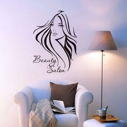 Pretty Hair For Australia - Pretty Long Hair Girl Wall Decals Beauty Salon Living Room Decorative Art Black Wall Sticker Adesivo De Parede Wallpaper