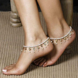 pearl bead elastic Australia - Fashion Women Girls Stylish Bead Chain Crystal tassel Ankle Anklet Bracelet Foot Sandal Barefoot Beach White Pearl beads Elastic ankles