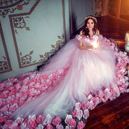 Fairy Tale Floral Ball Gown Wedding Dresses With 3D Hand Made Flowers  Glamorous Off Shoulder Lace Up Wedding Gowns Cheap Tulle Bridal Dress